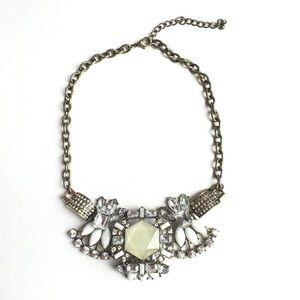 Statement Necklace Silver White Ivory Brass